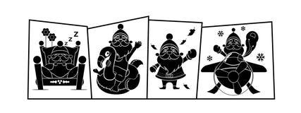 Four Seasons με την απεικόνιση Άγιου Βασίλη Στοκ εικόνα με δικαίωμα ελεύθερης χρήσης