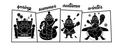 Four Seasons με το κείμενο Άγιου Βασίλη Στοκ φωτογραφία με δικαίωμα ελεύθερης χρήσης