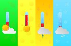 Four Seasons που προβλέπεται με το θερμόμετρο θερμοκρασίας Στοκ εικόνα με δικαίωμα ελεύθερης χρήσης
