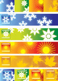 Four Seasons. Headers depicting four seasons and button vector illustration