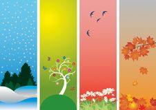 Four Seasons. Colorful style to vector illustration. Winter, spring, summer and autumn
