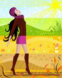 Four seasons. Illustration of four seasons with the woman on an abstract background Stock Photos