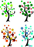 Four seasons. Four tree in summer, spring, winter and autumn Royalty Free Stock Images