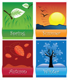 The four seasons. Card design with the four seasons of the year: Spring, summer, autumn & winter vector illustration