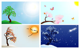 Four seasons. Set with tree, birds, butterfly and Santa Claus Stock Illustration