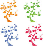 Four seasons. Four colored trees, vector icons Royalty Free Stock Photography