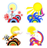 Four Seasons. Icon illustrations of four seasons Stock Photos