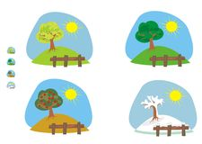 Four seasons. Cliparts and icons Royalty Free Stock Photo