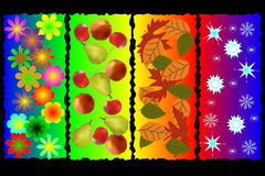 Four seasons. Illustration of specific seasonal objects in nature Royalty Free Stock Images