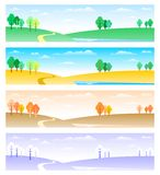 Four seasons. Colorful four seasons floral banner stock illustration