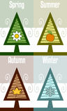 Four Seasons Abstract Tree Stock Photos