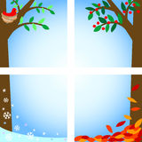 Four Seasons/ai. Four cartoon illustrations of a tree in spring, summer, fall and winter stock illustration