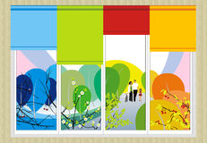 Four Seasons And A Happy Family Royalty Free Stock Photos
