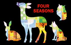Four seasons in animal silhouettes