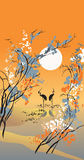 Four seasons: autumn. Hand-drawing picture in Chinese traditional painting style, vector illustration Royalty Free Stock Photography