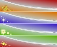 Four seasons banners. Four banners of four seasons in different colours and symbols vector illustration
