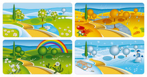 Four seasons banners. Set of four seasons banners. Vector Illustration (EPS v. 10 Stock Photography