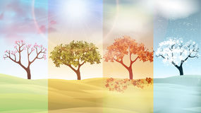 Four Seasons Banners with Abstract Trees and Hills - Vector Ill. Ustration vector illustration