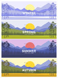 Four Seasons Banners with Abstract Trees - Vector Illustration.  stock illustration