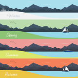 Four Seasons Banners with Forest and Mountains. Four Seasons Banners with Abstract Forest and Mountains - Vector Illustration stock illustration