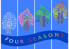 Four seasons banners.  trees. vector. Royalty Free Stock Photos