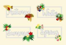 Four seasons banners, vector. Illustration royalty free illustration