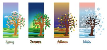 Four seasons banners, vector. Illustration royalty free illustration