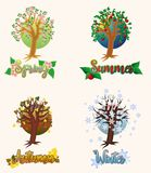 Four seasons banners, vector. Illustration stock illustration