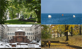 Four seasons in Bulgaria, photo montage. Four seasons in Bulgaria. Photo montage showing different scenes and colors representing the four seasons in Bulgaria Royalty Free Stock Images