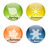 Four seasons buttons. Glossy buttons with the four seasons of the year: Spring, summer, autumn and winter stock illustration