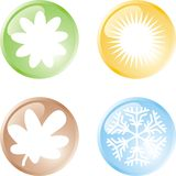 Four seasons buttons Stock Photography