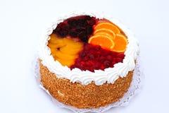 Four Seasons cake. With orange, raspberry, peack and mulberry Stock Photos