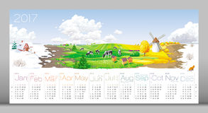 Four seasons Calendar 2017 Royalty Free Stock Photography