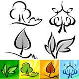 Four Seasons Calligraphic Tree IconsET Royalty Free Stock Photos