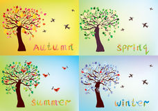 Four seasons card with tree Stock Images