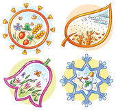 The Four Seasons in Cartoon Hand Drawn Pictures Stock Photo