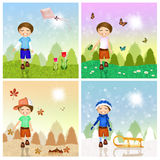 Four seasons with child Stock Photo