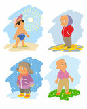 Four seasons with children Stock Images