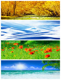 Four seasons collage Royalty Free Stock Photos