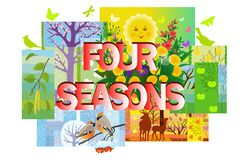 Four seasons collage in patchwork style