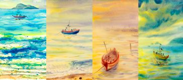 Watercolor painting seascapes at different time of the year. Four seasons collage, several images. Watercolor painting sea of beautiful natural seascapes at stock illustration