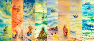 Watercolor painting seascapes at different time of the year. Four seasons collage, several images. Watercolor painting sea of beautiful natural seascapes at vector illustration