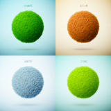 Four seasons collage. Spring, Summer, Autumn, Winter. Grass circ Stock Photo