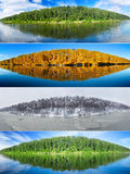 Four seasons collage :  summer, fall,  winter and spring. Set of the same landscapes of forest  lake. Panorama Royalty Free Stock Photo