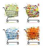 Four seasons concept, bouquets in shopping carts Vector Illustration
