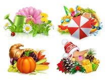 Four seasons concept, 3d vector set Stock Image