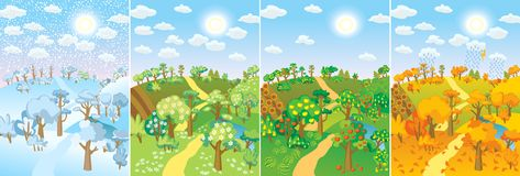 Four seasons. Concept of life cycle in nature. Images of beautiful natural landscapes at different time of the year - winter spring, summer, autumn. Vector royalty free illustration