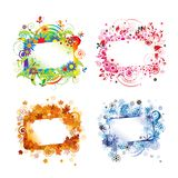 Four seasons, design frames with place for your Stock Photo
