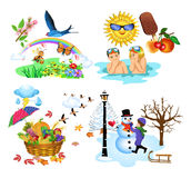 The four seasons. Four different illustrations, each depicting a season Stock Image