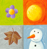 Four seasons elements. Acrylic illustration of Four seasons elements Stock Images
